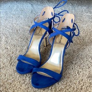 Bebe blue heeled sandals size 7